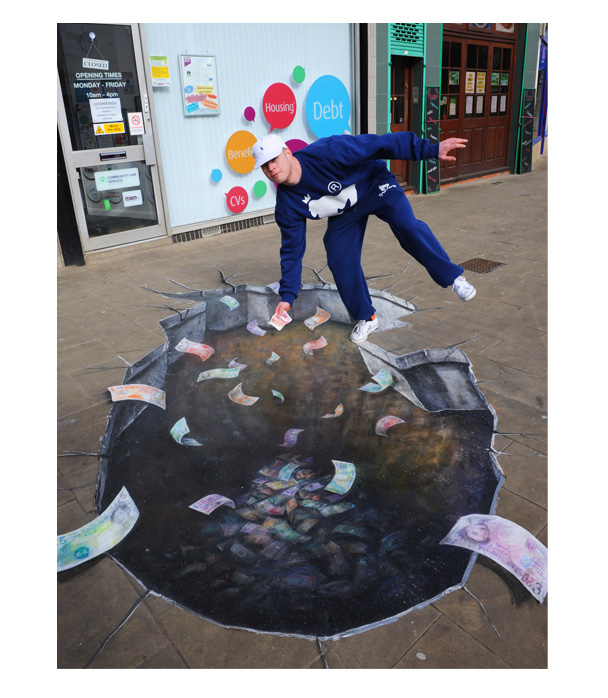 '3D' Pavement Art – Money Pit