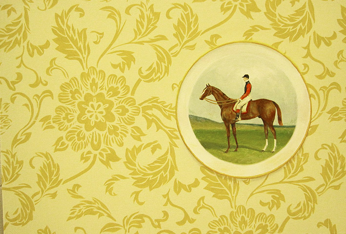 'Collectable plate: Equestrian' (2010) 75x45cm, acrylic on canvas